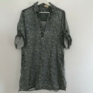 Cloth & Stone Sz M Gray Short Sleeve Dress V-Neck